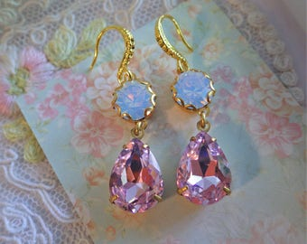 Pink Earrings ~ Pink Crystal ~ Earrings ~ White Opal ~ Swarovski ~ Bridal Earrings ~ Pink and White ~ Modern Bride ~ TheCrystalBijoux