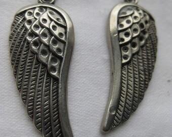 Silver Wings drop earrings