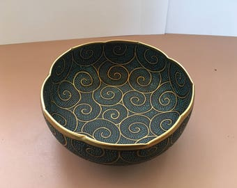 Chinese Ceramic Cloisonne Bowl trimmed in brass