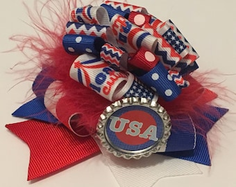 USA 4th of July poofy hair bow alligator clip with feathers