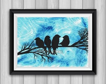 digital download, print, birds, wall hanging, download, watercolor, illustration, instant, silhouette