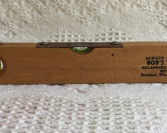 "Vintage Wood Torpedo Level Advertising ""Bob's Tire Shop"" Boscobel Wisconsin/Spirit Level/Whiskey Stick/Bubble Level"