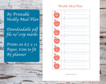 A5 Planner Printable Weekly Meal Plan Template, Meal Planning