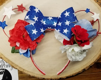 4th of July Red, White and Blue floral disney ears