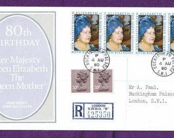 1980 Queen Mother's 80th Birthday CDS BUCKINGHAM Palace FDI registered.