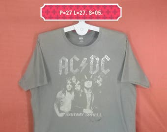Vintage ACDC Shirt ACDC Rockware Shirt Highway To Hell Shirt Spellout Gray Colour Size XXL Band Shirts Iron Maiden Shirts Metallica Shirts
