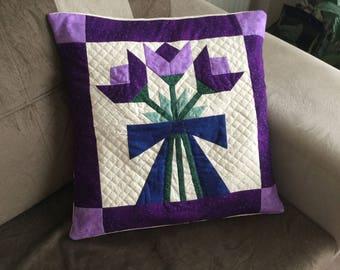 Decorative Pillow, Throw Pillow, Patchwork Pillow, Pillow Cover, Patchwork, Nursery Pillow, Quilted Pillow, Handmade Pillow, Purple, White