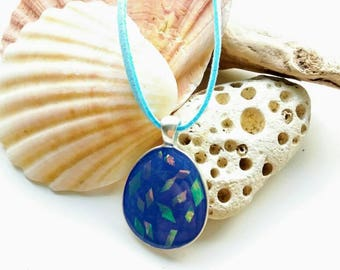 Blue lagoon pendant, resin jewelry,Resin pendant,gift for her, Shimmering design, Silver plate chain, blue necklace, glitter jewellery