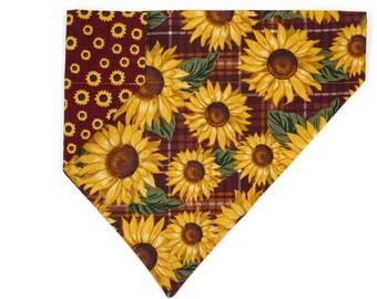 Fall Dog Bandana –Sunflowers With Plaid–Reversible–Slides on Collar