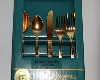 New Vintage 70s STANLEY ROBERTS ROGERS 24k Gold Royal Crown Flatware Svc for 4 - 20pcs - Japan