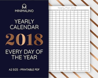 2018 wall calendar, Yearly Wall Planner 2018, Yearly Calendar,  wall poster, Instant download, printable, A2, big size