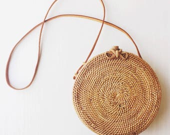 Etna Round Wicker Bag / Round Straw Bag/ Rattan Bag / Wicker Bag - instock! ships in 24-48 hours
