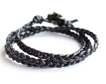Black Leather Braided Bracelet // triple wrap bracelet leather // bohemian bracelet // leather bracelet // womens boho jewelry bracelet