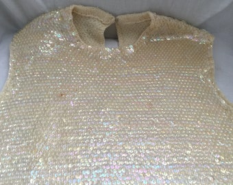 ivory sequin sweater top iridescent bombshell rockabilly 1950s
