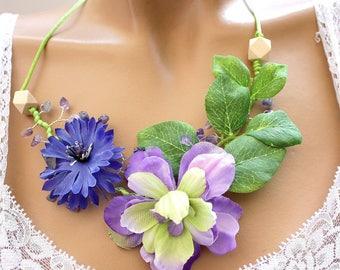 Cornflower and Delphinium purple floral necklace