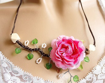 Branch pink fabric Flower necklace floral