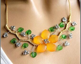 Orange and green summer flower necklace