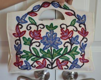 Kashmir India Cotton Crewel Embroidered Bag, Multicolor