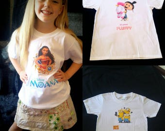 Personalised children's character t-shirts Disney batman spiderman etc any character. Kids clothing gift