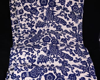 Pheasant printed indigo fabric
