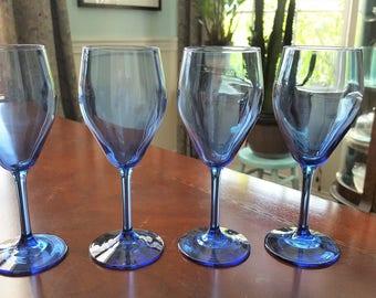 Vintage Blue Wine Glass Goblets Set of 4