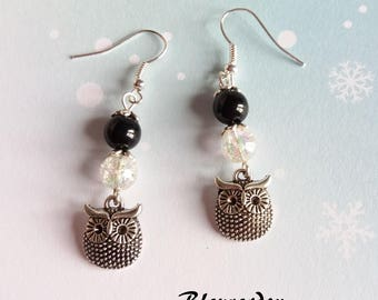 Black and transparent beads and nugget earrings