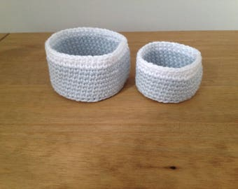 Set of 2 cotton crochet baskets/House warming gift/Home décor