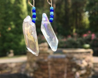 Clear Crystal Dangle Earrings with Dark and Light Blue Beads