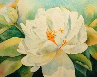 Luminous Peony, Original Watercolor