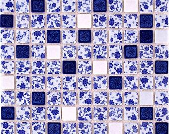 Blue and White Tile Backsplash Porcelain Tile Squares Random Flowers Ceramic Mosaic Modern Kitchen Wall
