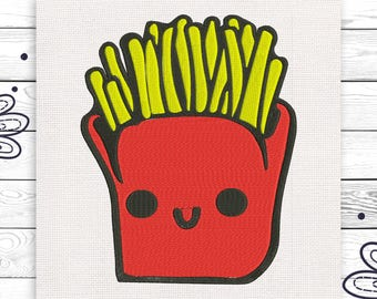 French fries Digital embroidery design 4 sizes INSTANT DOWNLOAD EE5096