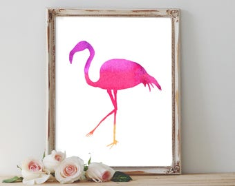 Flamingo Watercolour printable, pink flamingo printables, tropical bird print, home decor, printable art, gift for her, bridesmaid gifts