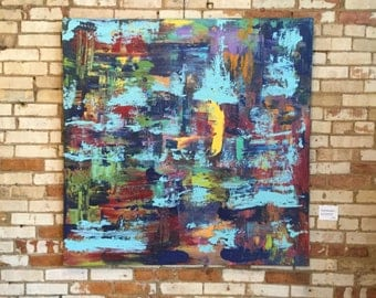 """Original 4'x4' Abstract on Stretched Linen By Artist Christian Michael Smith, Enititled: """"Counter Clockwise."""""""
