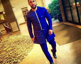 African Clothing /Ankara Men's Outfit/ Shirt and Trousers Express Shipping