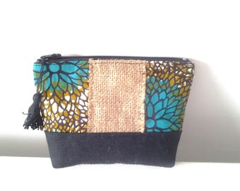 Jute and African fabric clutch
