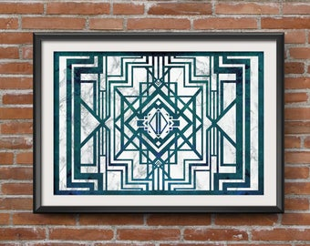 Art Deco Print: Modern Home Decor, Emerald and Grey Marble, Intricate Digital Design, Art Deco Poster, Geometric Art Deco Wall Art.