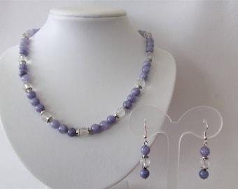 Necklace and earrings rock-crystal quartz and blue spunge quartz gemstones