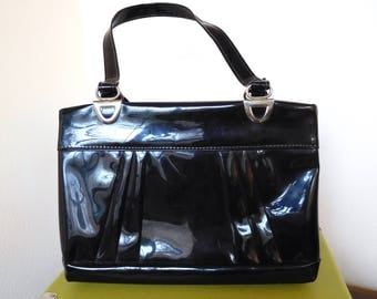 Vintage 1970s Shiny Patent Leather Handbag Black shoulder bag Minimalist Statement Square bag Simple Disco Unique Evening bag