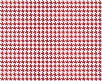 Small Houndstooth Red and White Fabric by Fabric Finders - 100% Cotton