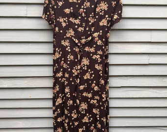 Brown 90s dress maxi floral pink 90s does 30s feminine grunge rayon