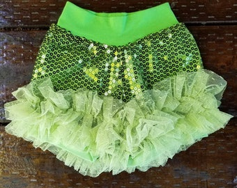 Baby/toddler/big girls - cute and comfortable SEQUINS RUFFLE SHORTS - lime green
