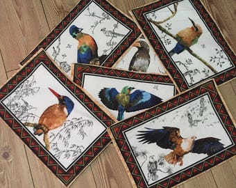 Placemats African Birds set of 6