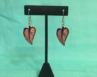 Vintage cloisonné leaf earrings