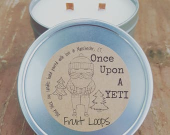 FRUIT LOOPS scent! | Wood Wick Soy Candle | Candle Tin | Hand Poured Eco Friendly Natural Candles | Soy Wax Melts | Once Upon a YETI
