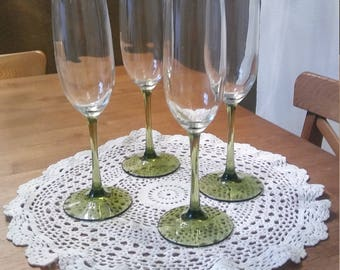 Vintage Crystal Champagne Flutes with Olive green stems  1970s