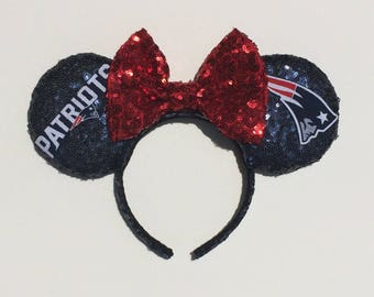 New England Patriots Mickey Mouse Minnie Mouse Ears headband