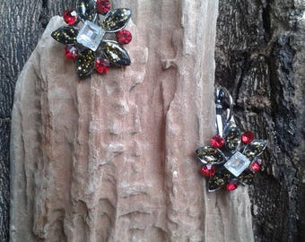 Winter red and Silver Flower Earrings