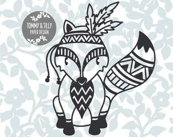 Tribal Fox SVG - Silhouette, Cricut, Cutting File, Kids svg, Digital Download, dxf, png, jpg, pdf