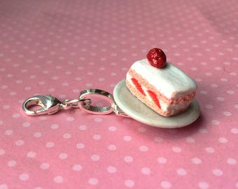 Miniature Strawberry Cake Charm with Clasp // Miniature Food Jewelry // Tiny Food Jewelry // Polymer Clay Jewelry