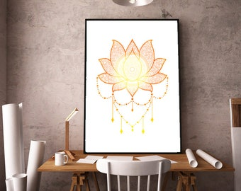 Lotus mandala printed canvas